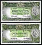 1961 £1 Reserve Bank QEII Coombs/Wilson banknote with Emerald back aUnc. (2). McDonald 52. Rennicks 34b. Catalogue Value $550.00.