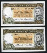 1961 10/- Coombs/Wilson Reserve Bank QEII (8), graded VG (1), F (4) and VF (3), 1942 10/- Armitage/McFarlane KGVI F and 1948 £1 Coombs/Watt KGVI VG banknotes. McDonald 21, 25 and 48. Catalogue Value $670.00. Also a couple of other banknotes.