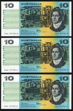 1985 $10.00 Johnston/Fraser paper banknotes good EF (35), with numerous consecutive notes. McDonald 171. Catalogue Value $1,050.00.