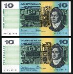 1985 $10.00 Johnston/Fraser paper banknotes aUnc (20), with some consecutive pairs. McDonald 171. Catalogue Value $760.00.