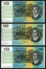 1966 Coombs/Wilson, 1967 Coombs/Randall, 1972 Phillips/Wheeler Commonwealth of Australia, 1976 Knight/Wheeler centre thread, 1985 Johnston/Fraser and 1991 Fraser/Cole $10.00 paper banknotes F.
