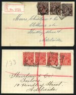 Alice Springs 25mm, Angaston 26½mm, Hanson, Mount Wedge and Talia 28mm squared circle cancellations tying South Australian, Kangaroo and KGV issues to registered cover fronts.