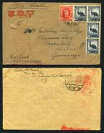 1947 Australian Comfort Funds envelopes (2), each franked with Australia 5½d  Emu (4) and 2½d Red KGVI, addressed to Germany with Censor Marking. Have filing holes.
