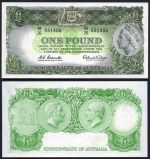 1939 10/- KGVI Sheehan/McFarlane Red Signature, 1961 10/- QEII Coombs/Wilson Reserve Bank VG and 1961 £1 QEII Coombs/Wilson Reserve Bank with Emerald back good EF banknotes. McDonald 20, 25 and 34b. Catalogue Value $440.00.