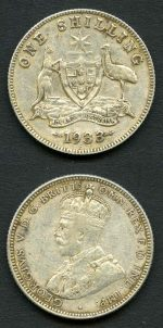 1933 Shilling F. Catalogue Value $195.00.