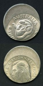 KGVI Era Shilling with spectacular misstrike, meaning no portion of the date can be seen Unc.