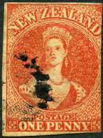 1864 1d Carmine-Vermillion Queen Victoria NZ Wmk Chalons Head imperf good used with 3 margins, slightly cut into at right. Sg 97. Catalogue Value £350.00.