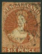 1857 6d Chestnut Chalons Head imperf No Wmk FU with close margins. Upper and lower margins just touching. Sg 15. Catalogue Value £550.00.