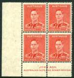 1938 2d Scarlet Die II KGVI lower left Ash imprint corner block of 4 with uniformly large holes coil perforation lightly hinged on top left unit and other units MUH with Ceremuga certificate. ACSC 188bh/zqa.