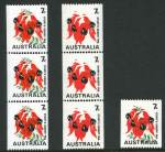 1971 7¢ Sturt's Desert Pea coil strip of 3 with Green and Buff colours omitted, plus single with missing Buff and misplaced Green colours MUH. ACSC 535ce and 535cg.