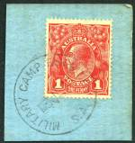 Military Camp Mitcham Sth Aust and Military Camp Exhibition S.A. CDS postmarks on 1d Red KGV on piece. Complete full strikes.