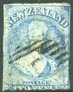 1862 2d Pale-Blue Large Star Wmk Chalons Head rouletted 7 at Auckland FU. Sg 51. Catalogue Value £600.00.