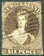 1862 6d Black-Brown Large Star Wmk Chalons Head rouletted 7 at Auckland FU. Sg 53. Catalogue Value £475.00.