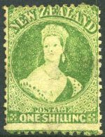 1864-67 1/- Green Large Star Wmk Chalons Head Large Star Wmk perf 12½ mint without gum. Sg 124. Catalogue Value £650.00.