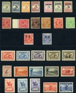 Collection of MUH and MLH Pre-Decimal and Decimal stamps from 1913 to 1975 including 1913 4d Orange 1st Wmk Kangaroo MLH, 1932-35 C of A Wmk Kangaroo set O/P Specimen Type D MLH, 1933 3d Blue C of A Wmk KGV O/P OS corner block of 4 MUH, 1931 6d Brown Airmail O/P OS MUH, 1934 1/- Perf 11½ Vic Centenary MUH, 1935 Silver Jubilee set MLH, 1936 SA Centenary set in MUH blocks of 4, 1937 NSW Sesqui set MUH, 1938 10/- Thick Paper Robes corner block of 4 MUH, 1953 Food set in MUH blocks of 9, 1971 Christmas Cream Paper unfolded block of 25 MUH, 1971 7¢ Sturt's Desert Pea with Buff colour omitted and Green colour misplaced pair MUH and 1975 18¢ Wildflower with Black colour omitted. Odd minor fault and centering varies.
