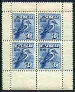 1928 3d Blue Kookaburra M/S MLH and well centered with tiny gum thin in each corner. Visually attractive.