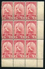 1932 1d Hygeia Health lower right corner block of 9, hinged on 3 units and 6 units MUH. Sg 552.