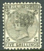 1878 5/- Grey Queen Victoria Sideface fine used. Rounded top right corner hardly detracts. Sg 186. Catalogue Value £300.00.