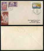 Christmas Island Locals 1934 (Dec.25) cover to USA bearing 1934 10c Coconut Plantations tied by clear strike of