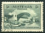 1932 5/- Green Sydney Harbour Bridge with Retouch over left centre of bridge variety CTO with gum and superbly centered. Few shortish perfs hardly detract. ACSC 148e.