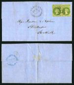 1860 Cover from Milang to Strathalbyn stamped with 1858 1d Yellow-Green Local Print imperf pair with 2 to 3 margins variable or just touching in places, the right unit slightly cut into at base, largely due to poor alignment of stamps on the plate, cancelled with No 100 Diamond Numeral of Milang. Milang broken ring proving cancel is dated Fe 3, 1860. Strathalbyn broken ring CDS backstamp in Blue. One vertical centre fold clear of stamps. One of the few surviving Local Print covers and previously sold by us in 2006 for $3,600.00. Sg 6.