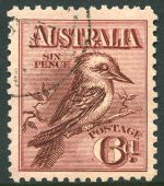 1914 6d Claret Kookaburra CTO without gum and well centered.