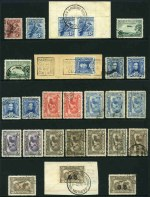 Selection of 169 used Pre-Decimal stamps including 1914 6d Claret Kooka (CTO with gum), 1928 3d Blue Kooka pair from M/S on piece FU with Sydney Harbour Bridge S.E.Pylon CDS, 1931 6d Brown Airmail (6), 1931 6d Brown Airmail O/P OS (2), 1934 1/- Vic Centenary (4), 1934 9d Macarthur (4), 1935 1/- Anzac (VFU), 1935 2/- Silver Jubilee, 1938 10/- and £1 Thick Paper Robes (3 of each), 1946 5/- Thick Paper BCOF and 1950 £2 Arms (2). Varying duplication. Condition mixed poor to fine condition.