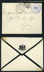 1900 'GOVERNOR/FRANK STAMP/NEW SOUTH WALES' handstamp in blue on mourning cover, with 'SYDNEY/MY21/00' N.S.W. duplex cancellation. Back flap with tear.