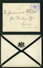 1900 'GOVERNOR/FRANK STAMP/NEW SOUTH WALES' handstamp in blue on mourning cover, with 'Moss Vale/11AP/00/NSW' CDS cancellation. VG condition.