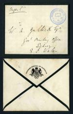 'GOVERNOR - GENERAL/FRANK STAMP/AUSTRALIA' handstamp in blue on 'GOVERNOR - GENERAL OF AUSTRALIA' mourning cover uncancelled. VG condition.