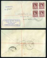 1934 First Flight covers from Australia to Papua and Australia to New Guinea, plus Australia to Papua boomerang covers (2) with cachets. (4 covers). AAMC 390, 391 and 393. Catalogue Value $160.00. Also New Guinea 1937 Coronation set in blocks of 4 on 4 registered FDC's.