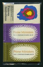 1968 Famous Aust, 1969 Prime Ministers (5), 1970 $1.20 Famous Aust and 1972 Prime Ministers $1.40 (5) and set of 2 70¢ (10 sets) booklets MUH.