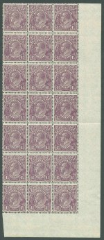 1927 4½d Violet Small Multiple Wmk perf 14 KGV lower right corner block of 21 with Retouched right value tablet and numeral, White flaws in left value tablet and Retouched right value tablet and numerals varieties MUH and well centered. 2 units MVLH. ACSC 119r, s and t.