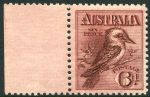 1914 6d Claret Kookaburra MUH well centered marginal copy with tiny natural gum inclusion.