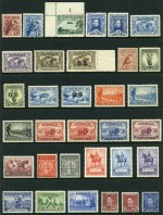 Collection of 104 different mint Pre-Decimal issues from 1914 to 1965 including 1914 6d Claret Kooka, 1931 6d Brown Airmail O/P OS, 1932 1/- Lyrebird, 1932 1/- Lyrebird O/P OS, 1934 Perf 10½ Vic Centenary set, 1934 Macarthur set, 1935 Anzac set, 1935 Silver Jubilee set, 1936 1/- SA Centenary, 1938 Thick Paper Robe set, 1946 BCOF set, 1961 5/- Cream Paper Cattle and 1963-64 Navigator set of 6. Generally fine MLH condition with odd minor fault. High retail value.