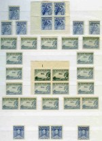 Accumulation of 333 mint Pre-Decimal issues from 1928 to 1965 in singles, pairs and blocks including 1929 3d Airmail Type A (16, plus Plate No 1 corner block of 4), 1932 1/- Lyrebird (2), 1934 9d Macarthur, 1935 1/- Anzac, 1938 2d Scarlet Die II KGVI small and large holes coil pair with join, 1938 £1 Thick Paper Robe (2), 1940 6d AIF (3), 1942 6d Kookaburra Perf 13¾ No Imprint corner block of 4, 1959 3d QEII part Plate No 5 right side with lines after coil perf block of 4, 1964 £1 Cream Paper Navigator (2) and many 2/- and 2/3 commemorative issues. Some minor faults, but mainly fine.