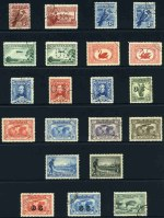 1914 6d Claret Kooka, 1927-30 1½d Canberra, 3d Kooka, 3d Airmail Type A, 1½d WA Centenary and Sturt set perforated OS, 1928 3d Kooka, 1929 3d Airmail Type B, 1929 1½d WA Centenary, 1930 3d Sturt, 1931 Kingsford Smith set, 1931 2d and 3d Kingsford Smith O/P OS, 1931 6d Brown Airmail, 1932 1/- Lyrebird O/P OS and 1934 3d and 1/- Perf 10½ Vic Centenary, all with G.P.O. Melbourne CTO postmark with gum. Mainly hinged and odd shortish perf.