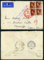 1937 Cover carried by Zeppelin on 15JE37 from Great Britain to Tenerife, Canary Islands via Berlin with 'DEUTSCHE LUFTPOST/EUROPA-SUDAMERIKA' cachet in red and 'CENSURA MILITAR/SANTA CRUZ DE TENERIFE' censor marking in violet. Berlin 16/6/37 and Tenerife 18JUN37 backstamps.