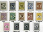 Collection of used Kangaroo, KGV, Pre-Decimal and Decimal stamps from 1913 to 1987 in Seven Seas Hingeless album in 2 binders. Includes 1917-18 5/- and 10/- 3rd Wmk Kangaroo's Perf OS CTO, 1929 5/- Small Mult Wmk Kangaroo CTO, 1932-35 C of A Wmk Kangaroo set O/P Specimen Type D MLH, 1931 4½d Violet Die II Small Mult Wmk perf 13½ KGV CTO, 1914 6d Claret Kooka CTO, 1931 2d and 3d Kingsford Smith O/P OS CTO, 1932 1/- Lyrebird O/P OS CTO, 1932 5/- Green Sydney Harbour Bridge CTO and 1964 5/- White Paper Cattle MLH, plus additional range of MUH Decimal issues from 1979 to 1986. Odd fault, but generally in good to fine used condition.