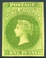 1858 1d Yellow-Green Local Print imperf in fine unused condition with 4 margins, slightly close at top. Slightest thinning at top. Attractive copy of this scarce issue. Sg 6. £6,500.00.