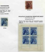 Collection of used Pre-Decimal and Decimal stamps from 1914 to 1983 in Seven Seas Standard album. Includes 1914 6d Claret Kooka, 1928 3d Blue Kookaburra M/S CTO with gum, by blue exhibition cancellation (small thins at top, but attractive appearance), 1931 2d and 3d Kingsford Smith O/P OS CTO, 1931 6d Brown Airmail O/P OS, 1932 1/- Lyrebird O/P OS, 1932 5/- Green Sydney Harbour Bridge CTO, 1934 Perf 10½ and 11½ Vic Centenary sets, 1934 Macarthur set of 4, 1935 Anzac set, 1935 Silver Jubilee set, 1938-49 Thick and Thin Paper Robe sets, 1949-50 Arms set and 1963-64 Navigator set of 8. Generally good to fine used condition with some minor faults. High retail value.
