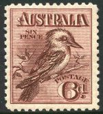 1914 6d Claret Kookaburra MUH and reasonably well centered. Minute spot on gum.