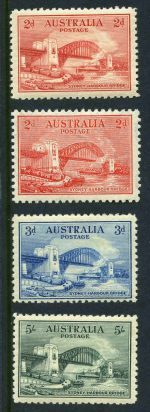 1932 Sydney Harbour Bridge set MLH. 5/- value is well centered with bluntish lower right corner perf.