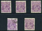 1931 4½d Violet Die II Small Multiple Wmk perf 13½ KGV CTO. (5). Mixed centering.