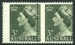 1953 3d Green QEII horizontal pair MLH with vertical perforations misplaced 3mm to left. Uncatalogued in ACSC.
