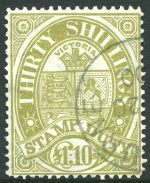 1888 £1.10 Pale Olive Duty Stamp CTO with Melbourne CDS postmark. Sg 275. Retail $375.00.