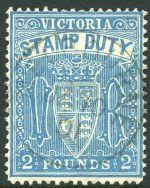 1888 £2 Blue Duty Stamp CTO with Melbourne CDS postmark. Sg 276. Retail $275.00.