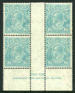 1932 1/4 Blue C of A Wmk KGV imprint block of 4, lightly hinged on top units and lower units MUH. Lower units with faint gum bends. ACSC 131z.