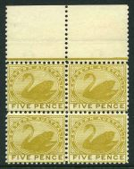 1902 5d Bistre Swan Wmk V over Crown perf 11 marginal block of 4 MUH. Sg 132. Catalogue Value £192.00.
