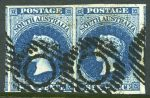 1855 6d Deep Blue Queen Victoria London print imperf pair good used with 4 good margins. Small marks on face, but attractive. Sg 3. Catalogue Value £320.00.